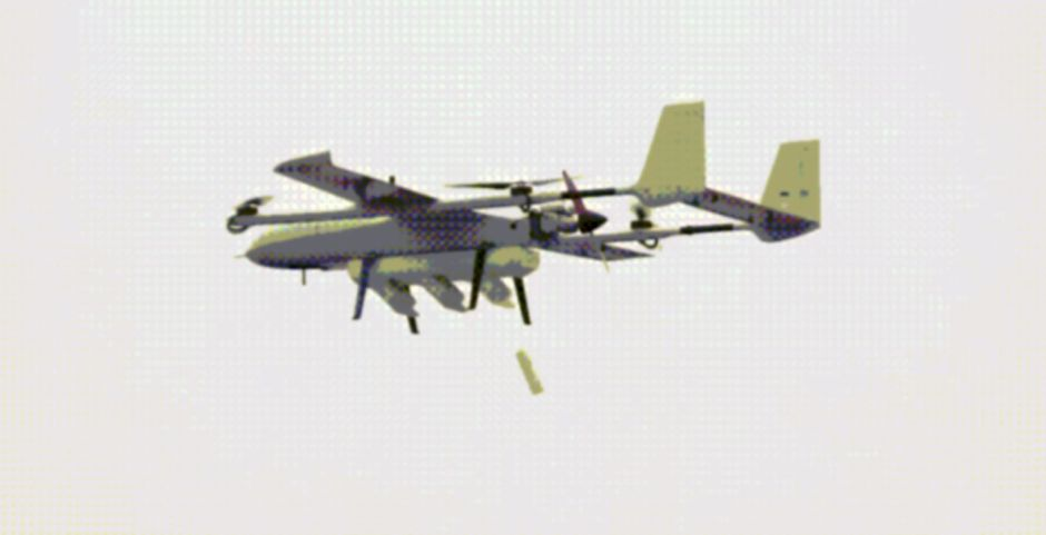 A screenshot from a video released by Zhongtian Feilong on 1 April showing the firm's newly developed 'unmanned airborne swarm system' releasing a smaller UAV while in flight.   (Zhongtian Feilong)