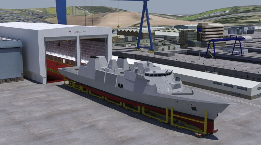 In parallel with design activity, Babcock continues to progress a major programme to modernise and upgrade the facilities at its Rosyth site. This includes a new covered assembly hall – large enough to accommodate two Type 31 frigates side by side – and a large hardstanding out front (Babcock)