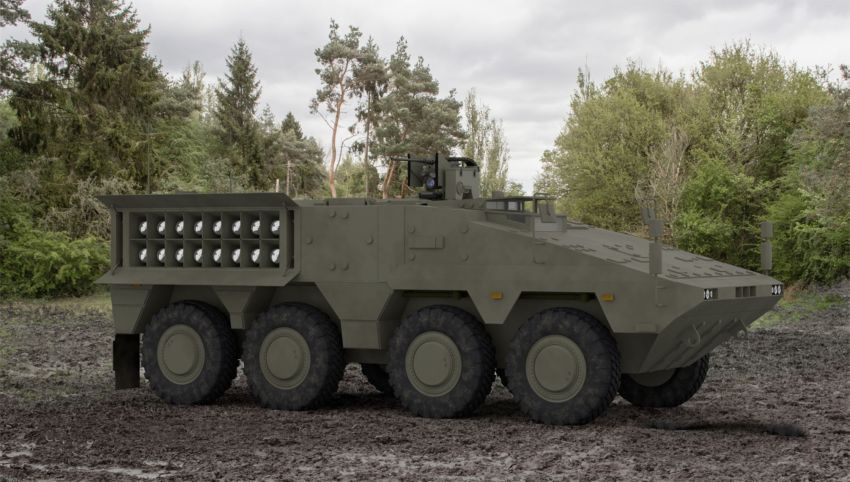 General Dynamics Land Systems and MBDA have designed the 'Overwatch' concept: Brimstone multi-rocket launchers integrated on Ajax or Boxer vehicles. (MBDA)